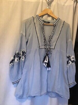 AU50 • Buy Zara Fine Cotton Gorgeous Blue Babydoll Blouse Size 8-10