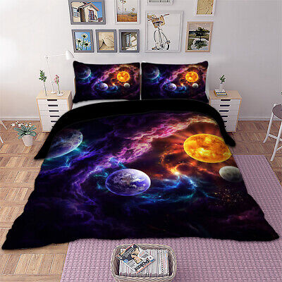 AU58.99 • Buy Galaxy Quilt Cover Doona Duvet Covers Set Single Double Queen King Size Bed Soft