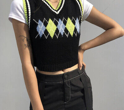 Womens V Neck Vintage Sweater Vest, Cropped Knitted Argyle Sleeveless Sweaters, • 14.99£