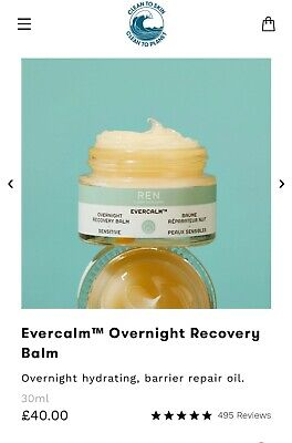 REN Skincare Evercalm Overnight Recovery Balm Hydrating Barrier Repair Oil  • 18.99£