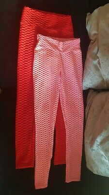 Two Pairs Pink And Red. Anti Cellulite High Waist Scrunch Leggins Size 8 • 3.90£