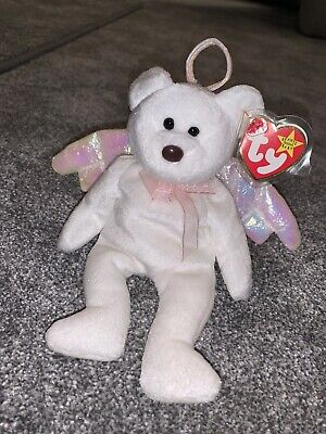 TY Beanie Babies - Halo The Angel Bear 1998 - BROWN NOSE- MINT With TAG No.425 • 229.99£