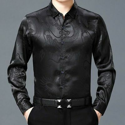 Men Faux Silk Satin Shirt Business Formal Long Sleeve Blouse Casual Top Chinese • 19.57£