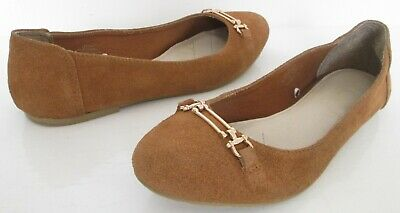 Size 7 41 Womens Flat Heels Tan Brown Suede Slip On Ballet Pumps Shoes  • 0.99£