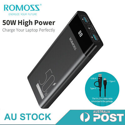 AU55.99 • Buy ROMOSS Power Bank 20000mAh 2-Way USB-C 50W PD QC3.0 Fast Charge Laptop Charger