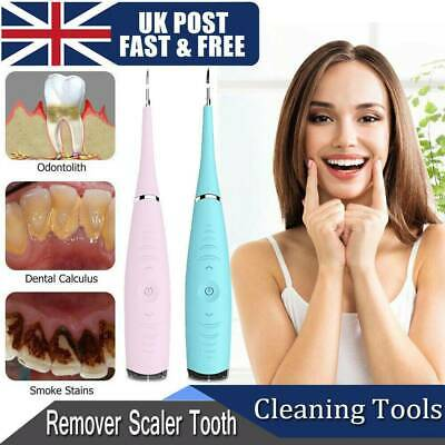 UK Electric Sonic Dental Scaler Tartar Calculus Plaque Remover Tooth Stains Tool • 6.99£