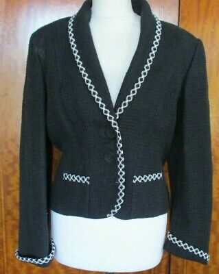 Caroline Charles Black & White Fitted Blazer Jacket - UK 12 / 14 • 43.99£