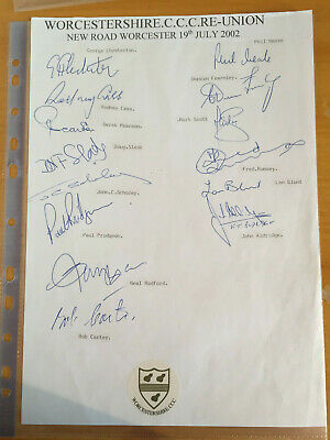 2002 Signed By 14 Worcestershire Old Players Team Sheet Blunt Cass Chesterton & • 3.99£