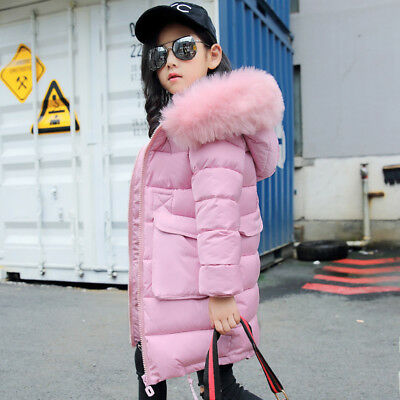 Winter Girls  Fur Hooded Hoodie Trench Down Jacket Outwear Coat  Parka Uk • 29.99£