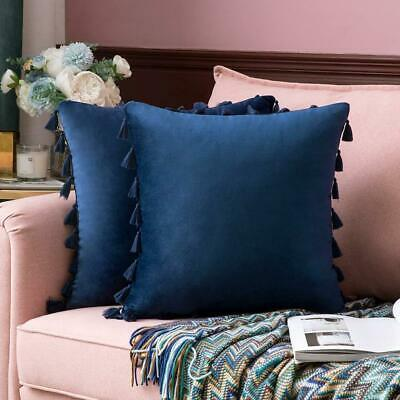 2Pcs Tassel Pillowcase Soft Particles Velvet Solid Color Cushion Covers 45x45cm • 12.99£