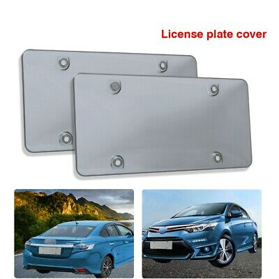 $8.99 • Buy Smoked Clear License Plate Cover Frame Shield Tinted Bubbled Flat Car Pair
