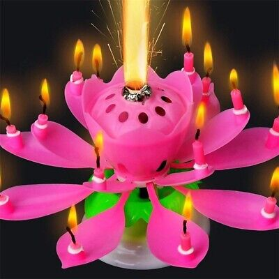 $ CDN9.44 • Buy Rotating Lotus Candle Birthday Cake Flower Musical Music Candles (Multi Color)