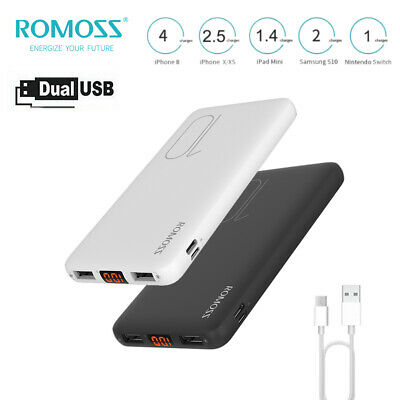 AU21.99 • Buy Romoss Slim Power Bank 10000mAh 2.1A Fast Charge 2USB Portable Charger Battery