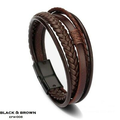 Men Brown Leather Bracelet Braided Wristband Clasp Multi-Layer Wrap, Homme • 9.79£