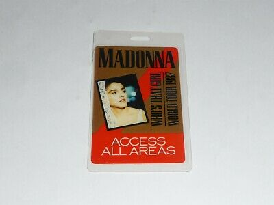 Madonna -  Laminated  Who's That Girl - World Tour 1987 - Access All Areas  Pass • 17.50£