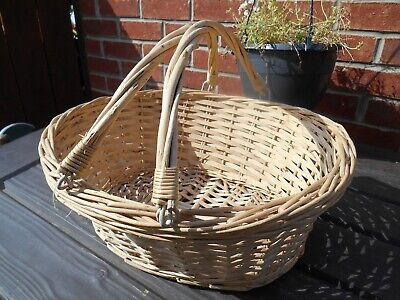Vintage Retro Oval Whicker Egg Basket With Twin Handle Beige  Farmhouse • 15.99£
