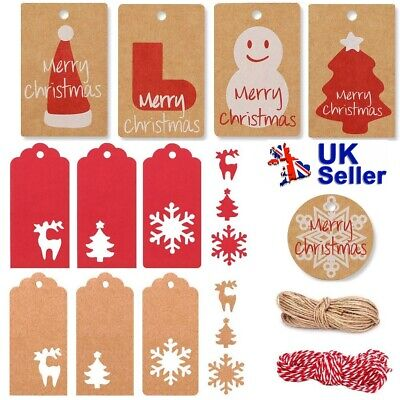 50Pcs New Christmas Kraft Paper Gift Tags Scallop Label Luggage Blank + Strings • 0.99£