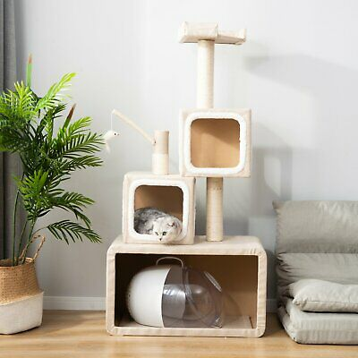 Beige Kitten Cat Tree Scratching Post Tower Activity Centres Climbing Play House • 49.99£