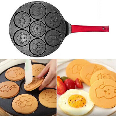 Non Stick Animal Mold Breakfast Maker 7 Holes Cooking Tool Pancake Pan Frying • 22.64£