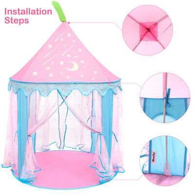 Girls Princess Fairy Castle Play Tent Teepee Playhouse Kid Indoor Garden Prince • 16.69£