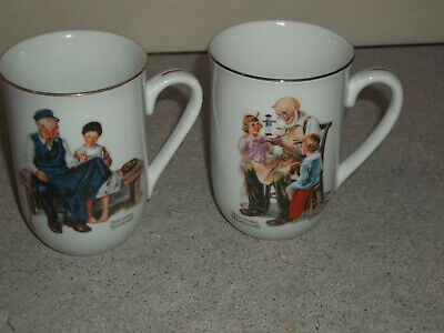 $ CDN7.90 • Buy 2 Vintage Norman Rockwell Museum Vintage 1982 Coffee Mugs Toy Maker Lighthouse