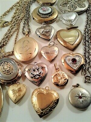 $ CDN17.14 • Buy Vintage Costume Jewelry Mod Locket Heart Lot Of 17 Pendants Some With Chains
