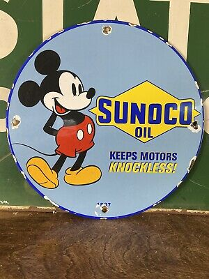 $ CDN36.19 • Buy 1937 Vintage ''sunoco Oil'' Mickey Mouse  Porcelain Gas & Oil Sign12 Inch