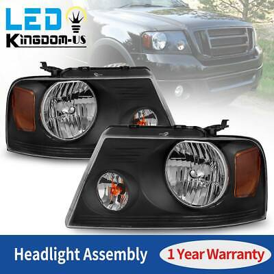 $67.01 • Buy Headlights Assembly For 2004-2008 Ford F-150 F150 Black Housing Clear Lamps Pair