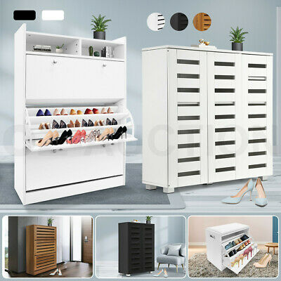 AU64.95 • Buy Shoe Cabinet Shoes Storage Rack Organiser Wooden White Black 6 Type