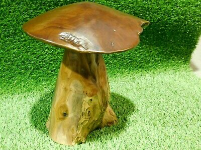 Large Teak Wood Mushroom Garden Toadstool Ornament Sculpture Individually Carved • 39.99£