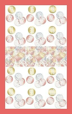 Rose Gold Glitz Table Confetti, Happy Birthday And All Ages Party Sprinkles • 1.99£