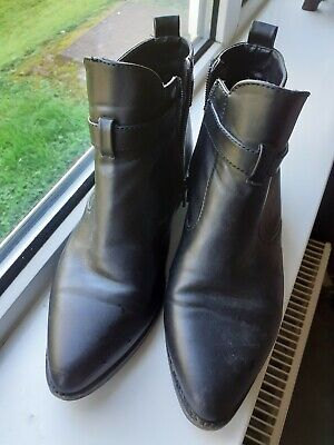 Black Leather Ankle Boots By Red Herring Size 5 Side Zip  • 11£