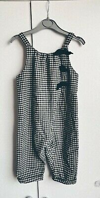 Zara Girls 12-18 Months Navy Check Dungarees / Jumpsuit With Bows • 2.40£