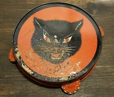 $ CDN49.43 • Buy Vintage HALLOWEEN Spooky Scary Black Cat  Witch Tambourine Noisemaker T. CONN