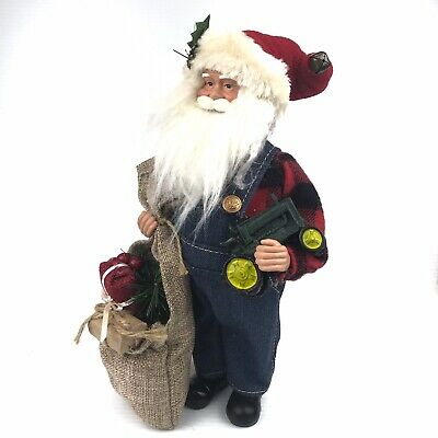 "AU28.36 • Buy Farmer Santa With Tractor & Gift Bag Christmas Decorative 12"" Figure John Deere"