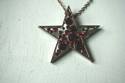 £6.95 • Buy  Black Star Necklace Pendant Long Chain Retro Indie Emo Gothic Fashion Red Gems
