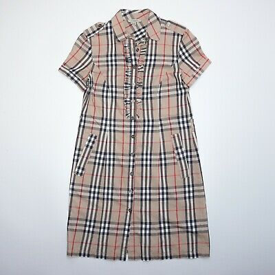 Burberry Women's Belted Short Sleeve Beige Shirt Dress Size Large Mint Condition • 125£