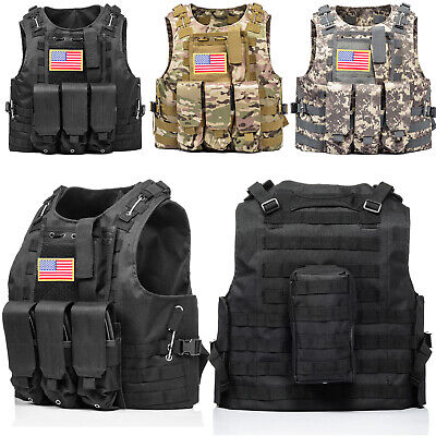 $30.39 • Buy HUNTVP Military Tactical Vest Molle Combat Assault Plate Carrier W/ Without Flag