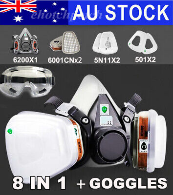 AU25.56 • Buy 8 In 1 Suit 6200 Half Face Respirator Painting Spraying Mouth Gas Mask+Goggles.