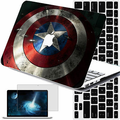 $21.90 • Buy Captain America Shield Rubberized Hard Cut-out Case Cover +KB+SP Macbook Pro Air