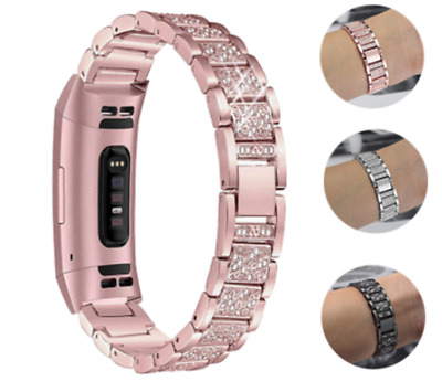 AU16.99 • Buy Diamond For Fitbit Charge 2 3 4 Band Metal Strap Stainless Steel Female Bracelet