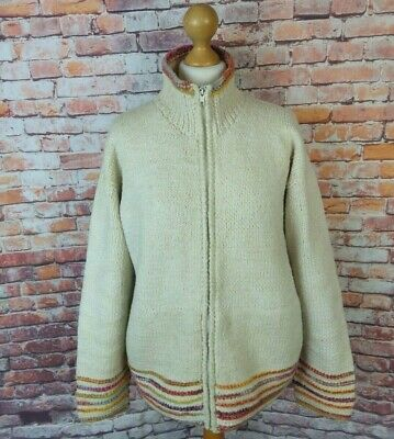 Pachamama Cream Chunky Wool Cotton Mix Zip Cardigan Multicoloured L 18 Ethical • 31.99£