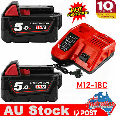 AU42.99 • Buy Battery Or Charger For Milwaukee 18V XC 5Ah Lithium HD M18 48-11-1850 48-11-1828