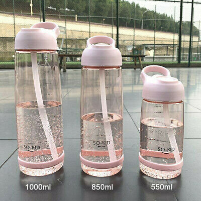 Portable Sports Water Bottle With Straw Plastic BPA Free Leakproof Drinks Mugs Y • 7.29£