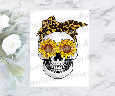 $2.50 • Buy Sunflower Skull With Leopard Print Bandana Sublimation Transfer | Ready To Press