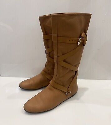 Women's Gucci Boots Leather Shoes Knee Brown Sz 36,5 • 125.45£