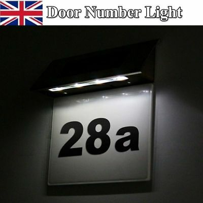 4LED Solar Powered Led Illuminated House Door Number Light Wall Plaque Modern UK • 7.98£