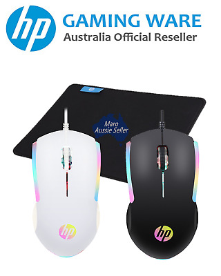 AU25.99 • Buy HP Wired RGB Backlit Optical Gaming Mouse Bundle Deal (Black / White)