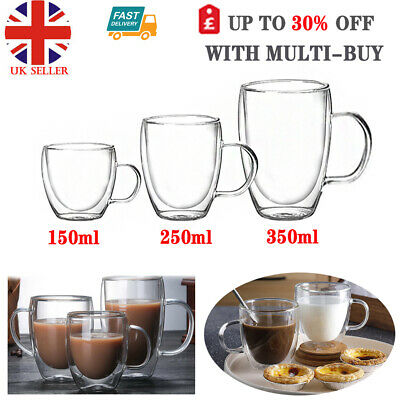 Double Walled Thermal Clear Glass Coffee Mugs Tea Cups With Handles Insulated UK • 6.86£