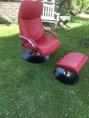 Fjords Vintage  Red Leather Swivel Armchair  And Stool • 195£
